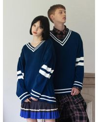 TARGETTO - [unisex] V-neck Line Knitwear Moroccan Blue - Lyst