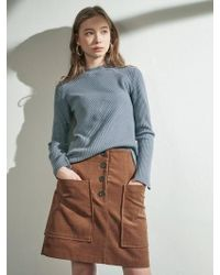 W Concept - Button Point Corduroy Skirt_bl - Lyst