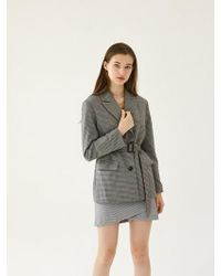 W Concept - [set] Check Tailored Jacket_grey + Round Wrap Skir - Lyst
