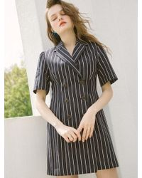 W Concept - [us]button Stripe Dress_navy - Lyst
