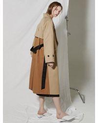 Clue de Clare - Color Bock Tench Coat Beige - Lyst