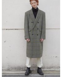 W Concept - Olive Check Wool Classic Long Doublebleast Coat - Lyst