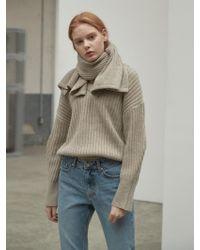 NILBY P - Two Way Wool Pullover Muffler Set Beige - Lyst