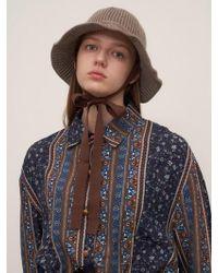 1159 STUDIOS - Mh7 Ribbon Knit Bucket Hat_cocoa - Lyst