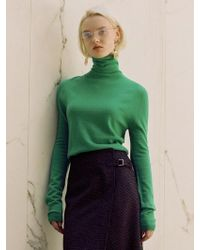 W Concept - Maria Fitted Turtleneck Sweater Atb233w Green - Lyst