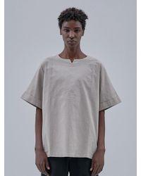 OWL91 - Linen No Collar T-shirts_beige - Lyst
