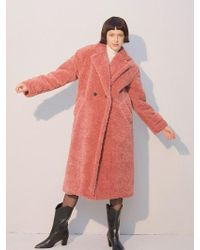 W Concept - Teddy Bear Long Coat_pink - Lyst