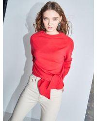 AYIHOLIC CASHMERE - Cashmere Wrap Knit Top Orange Red - Lyst