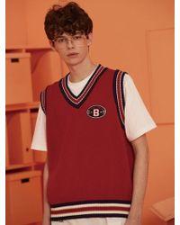W Concept - [unisex]wappen Knit Vest Red - Lyst