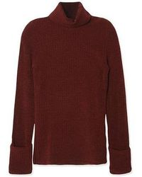 a.t.corner - Ate06da04wn Ribbed Turtleneck Tee In Wine - Lyst