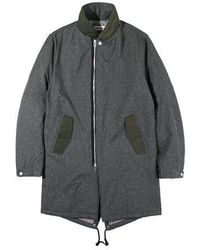 W Concept - Padded Fishtail Coat Charcoal - Lyst