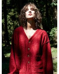 W Concept - [woman] Oversized Mohair Cardigan Red - Lyst