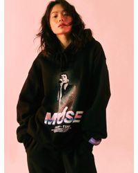 SLEAZY CORNER - Muse Print Hoodie Black - Lyst