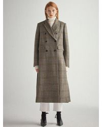 W Concept - Olive Check Wool Double Breast Coat Hj007 - Lyst