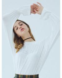 MIGNONNEUF | Crush Frill Long Sleeve T White | Lyst
