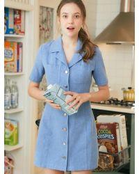 W Concept - Ro Stitch Dress Blue - Lyst