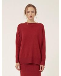 LE CASHMERE - Long R Neck Pullover With Slits - Lyst