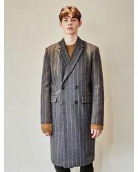 YAN13 - Double Breasted Stripe Coat_gray - Lyst
