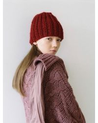 Awesome Needs - Hand Made Lambs Wool Knit Beanie_deep Red - Lyst