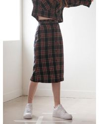 TARGETTO - Frill Check Skirt Black Check - Lyst