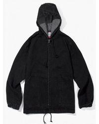 W Concept - Zip Up Poncho Jacket Black Denim - Lyst