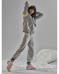 W Concept - Colour Block Zip Up Grey - Lyst