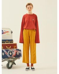 ANOTHER A - Corduroy Button Trousers Yellow - Lyst