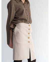 AEER - Corduroy Button Wrap Skirt L Beige - Lyst