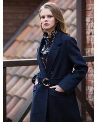 W Concept - Ring Belt Wool Coat_navy - Lyst