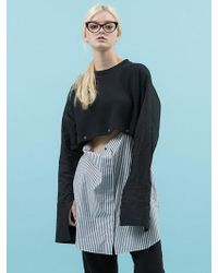 ANOTHER A - Attachable Two Way Stripe Shirt Black - Lyst