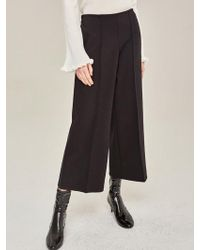 LIUNICK - Pintuck Wide Ankle Pants Black - Lyst