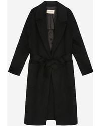 a.t.corner - Black Mixed Cotton Belt Long Coat - Lyst