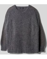 AYIHOLIC CASHMERE - Angora Wool Blend Boat Neck Top Charcoal - Lyst