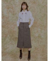 among - A Herringbone Slit Skirt - Lyst