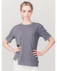 ABRAHAM K HANGUL - Side Zipper T-shirt Grey - Lyst