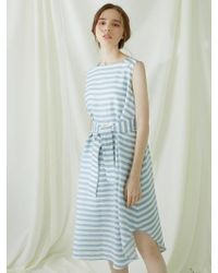 MILLOGREM - Striped Draped Dress - Blue - Lyst