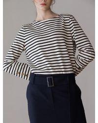 AEER   H Line Slit Wool Skirt Navy   Lyst