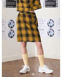 TARGETTO - Check Skirt Yellow Check - Lyst