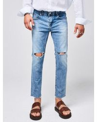 YAN13 - Damage Denim Pants Denim - Lyst
