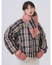 ANOTHER A - Reversible Check Down Jacket Beige - Lyst