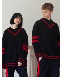 TARGETTO - [unisex] V-neck Line Knitwear Black - Lyst