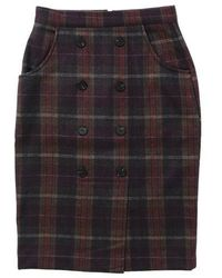 W Concept - Heavy Wool Check Midi Skirt_wine - Lyst