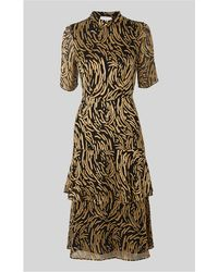 Whistles - Ivanna Silk Mix Devore Dress - Lyst