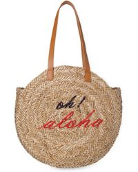 Whistles - Oh Aloha Round Straw Tote - Lyst