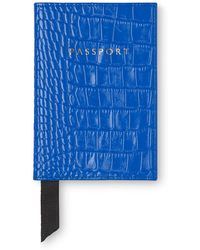 Whistles - Sea Blue Croc Passport Holder - Lyst