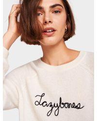 White + Warren - 'lazybones' Embroidered Cashmere Sweatshirt - Lyst