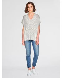 White + Warren - Waxed Tape Floral Lace Sleeve Crewneck - Lyst