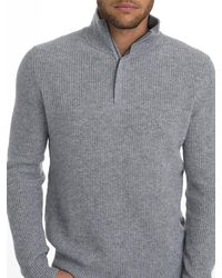 White + Warren - Mens Cashmere Shaker Stitch Half Zip - Lyst