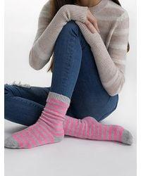 White + Warren - Womens Cashmere Striped Socks - Lyst