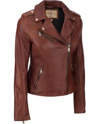 Wilsons Leather - Asymmetrical Leather Jacket W/ Snap Details - Lyst
